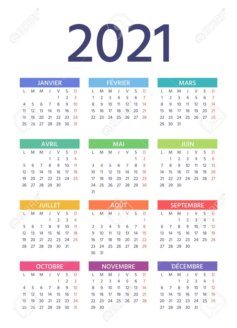 French Calendar 2021 Year. Week Starts Monday. Vector. Simple..