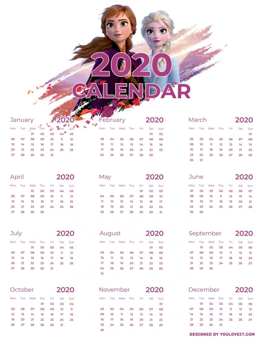Frozen 2 Calendar 2020 With Elsa And Anna Free Printable In