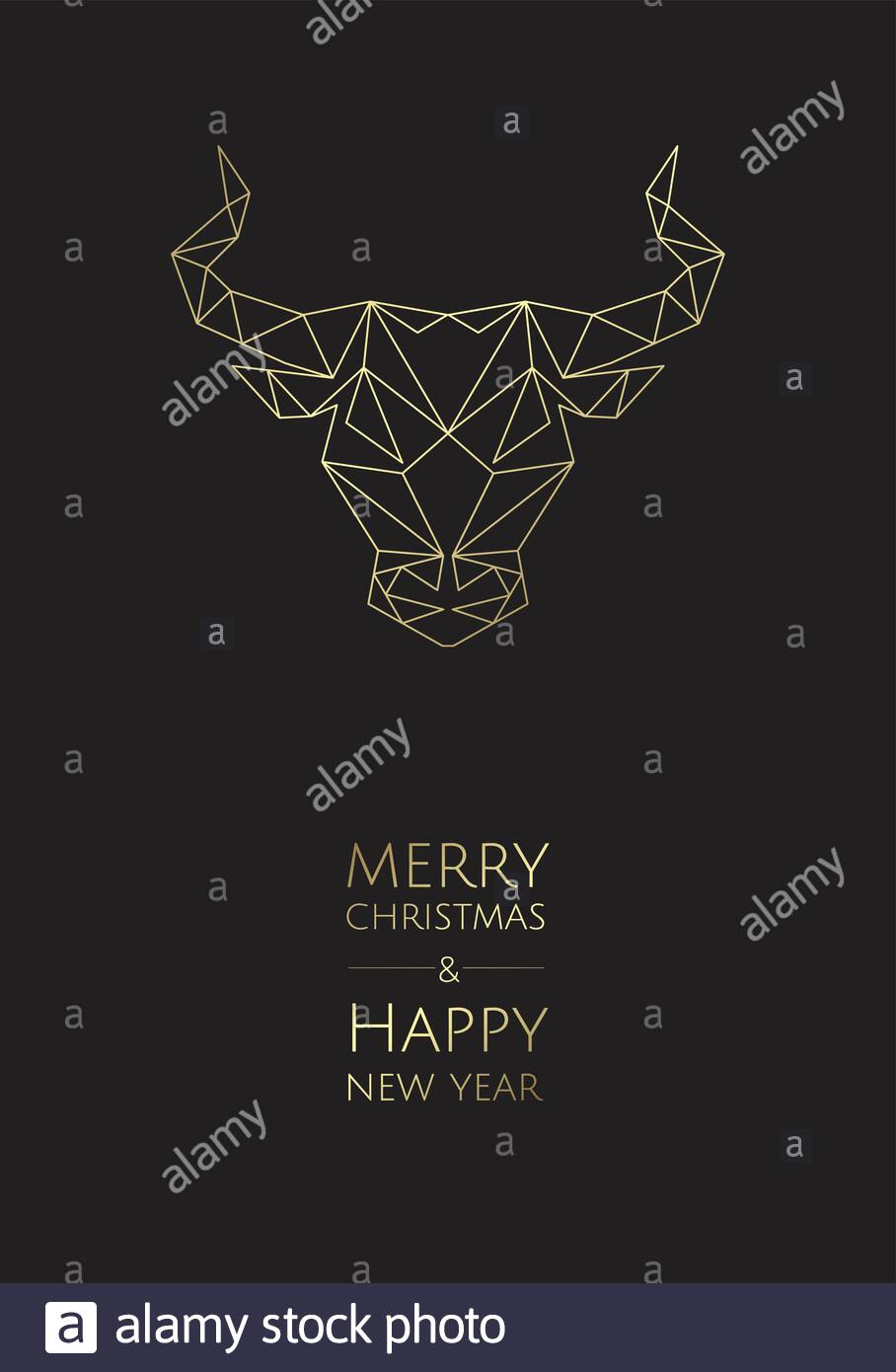Greeting Card Design Template With Ox, Bull, Cow For 2021