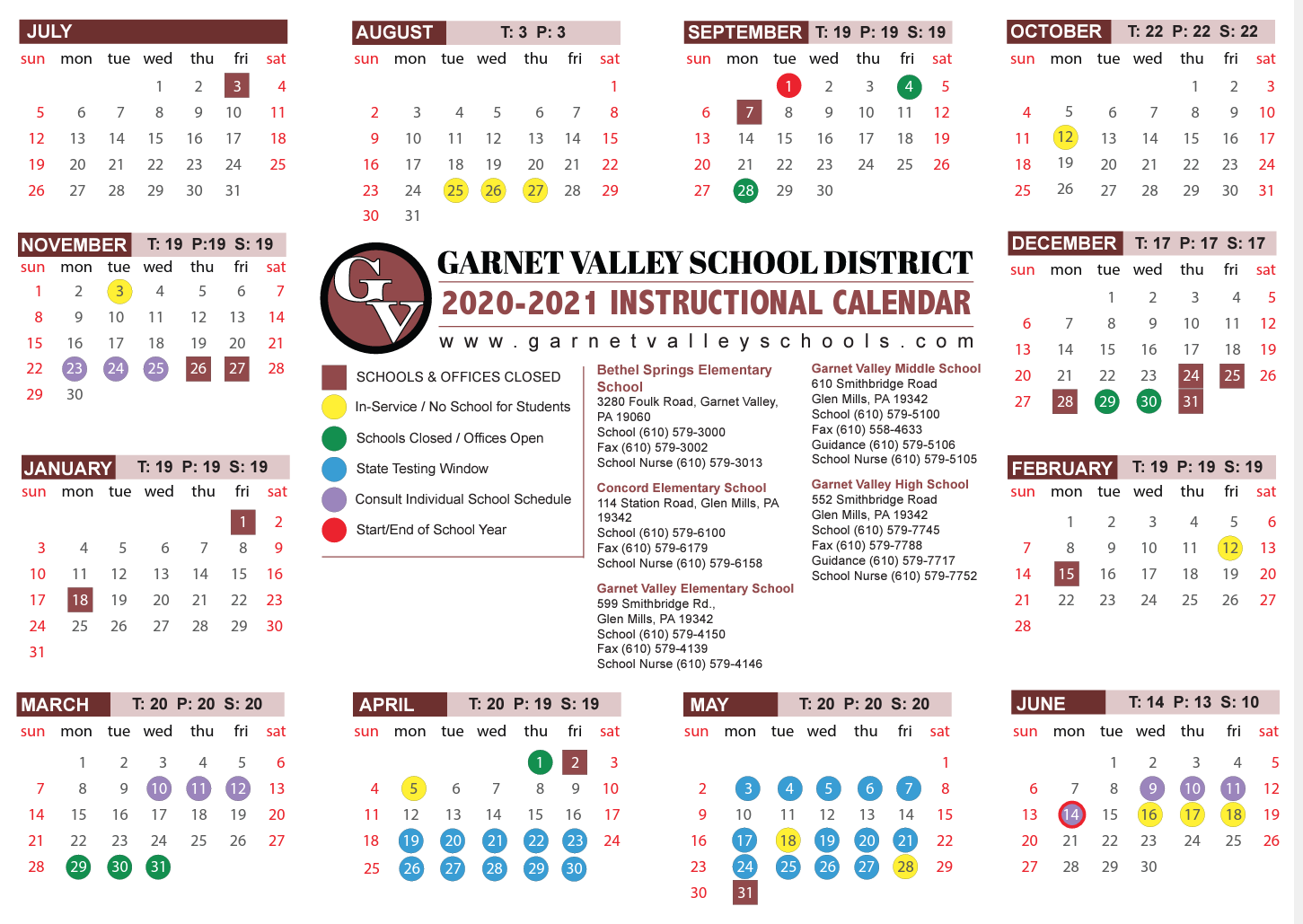 Important School Calendar Announcement - Garnet Valley