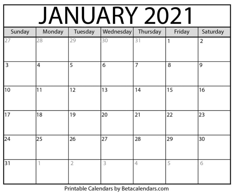 January 2021 Calendar | Blank Printable Monthly Calendars