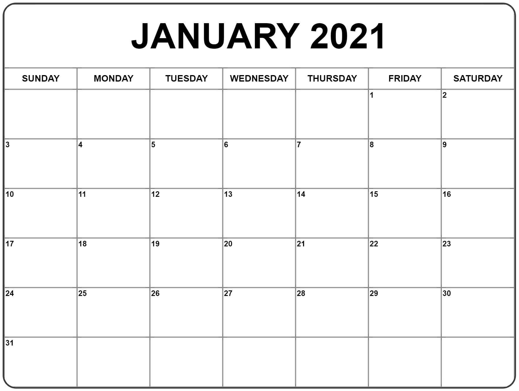 January 2021 Calendar | Monthly Calendar Printable, January