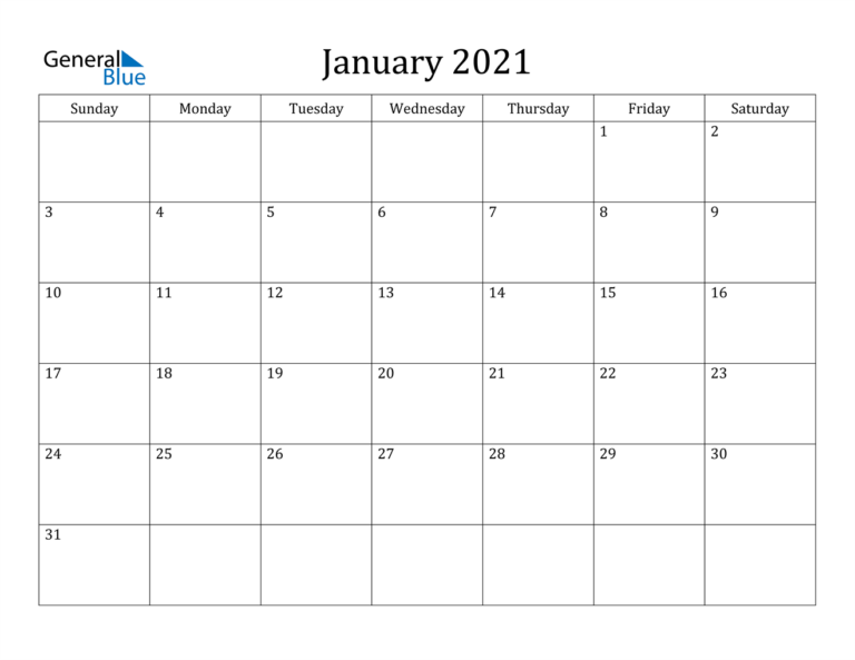 January 2021 Calendar - Pdf Word Excel