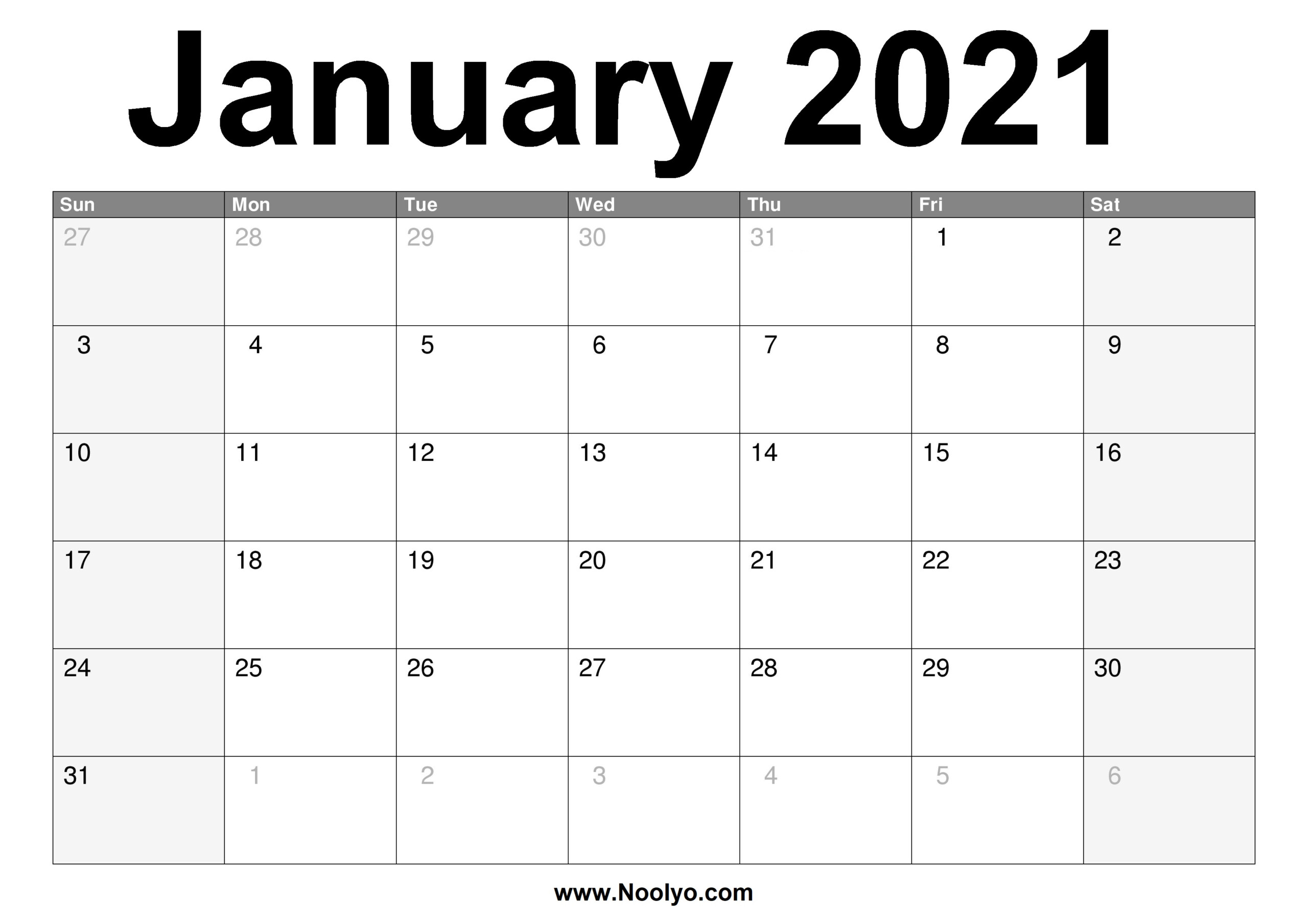 January 2021 Calendar Printable – Free Download – Noolyo