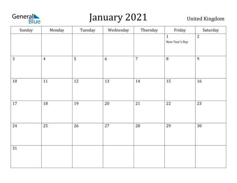 January 2021 Calendar - United Kingdom