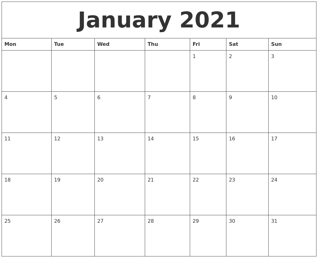 January 2021 Large Printable Calendar