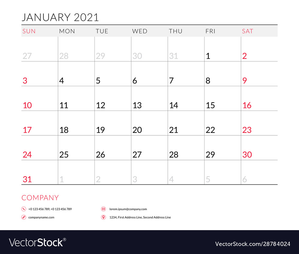 January 2021 Monthly Calendar Planner Printable Vector Image