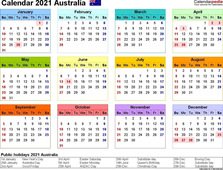 January February 2021 Calendar Australia In 2020 | Yearly