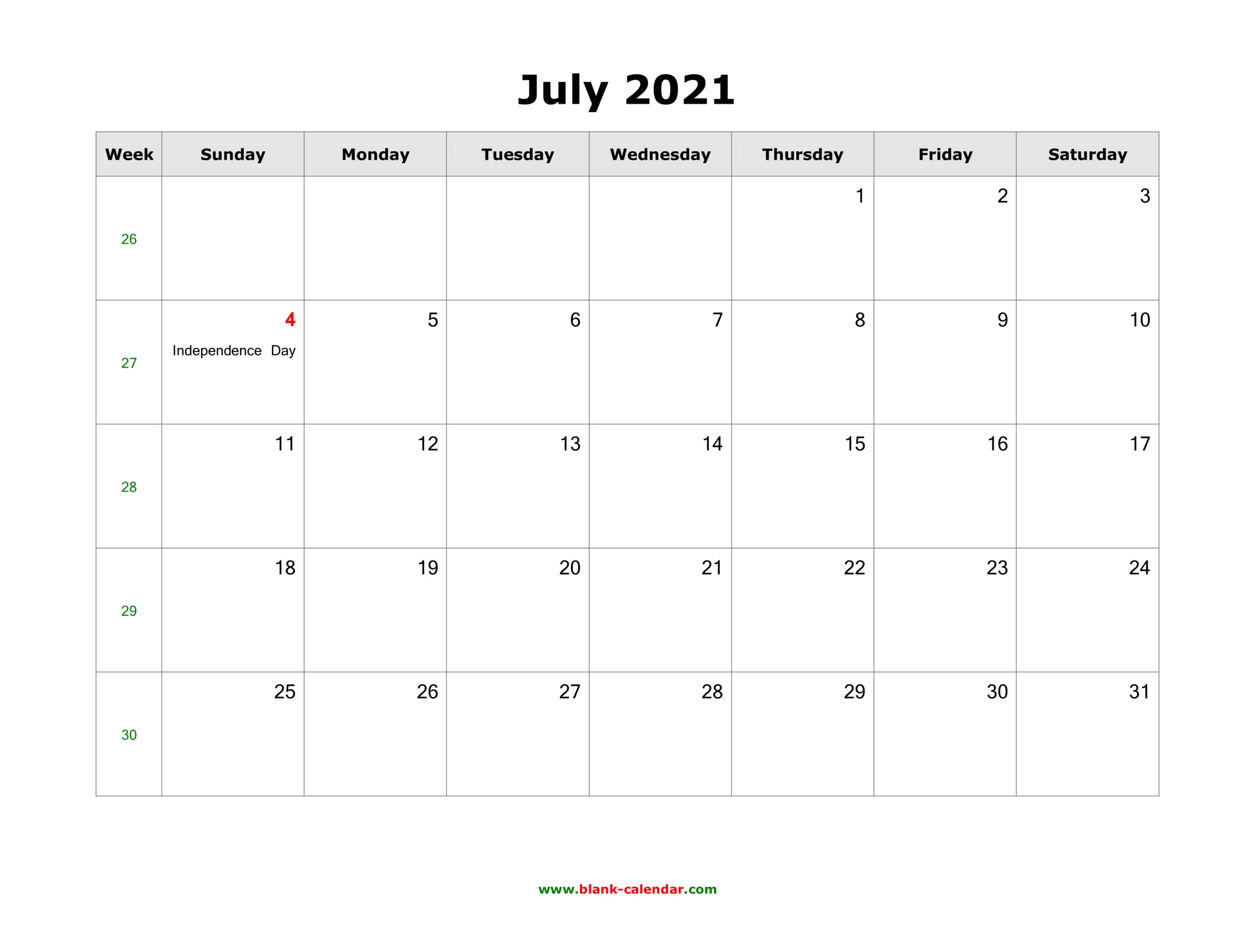 July 2021 Blank Calendar | Free Download Calendar Templates