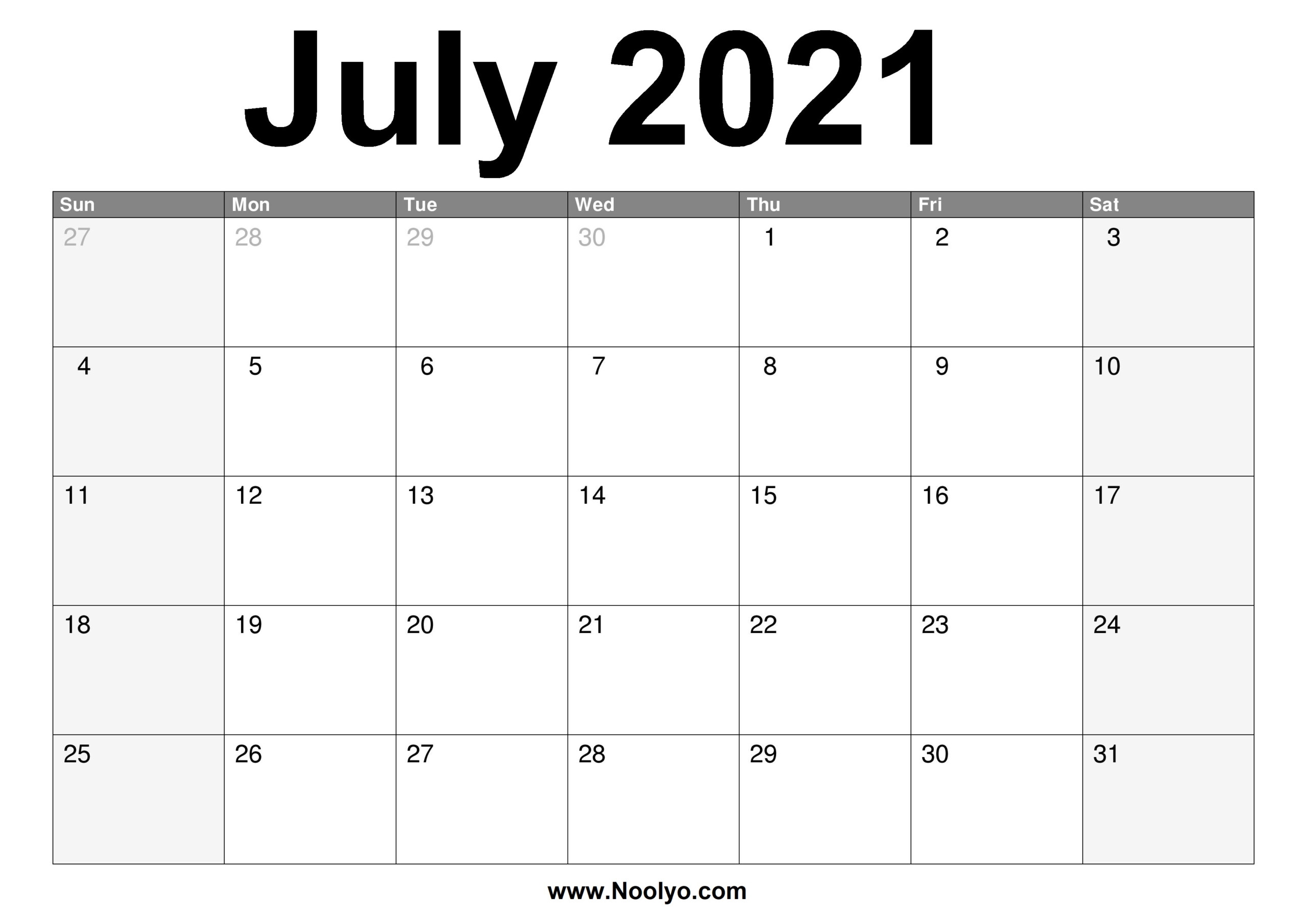 July 2021 Calendar Printable – Free Download – Noolyo