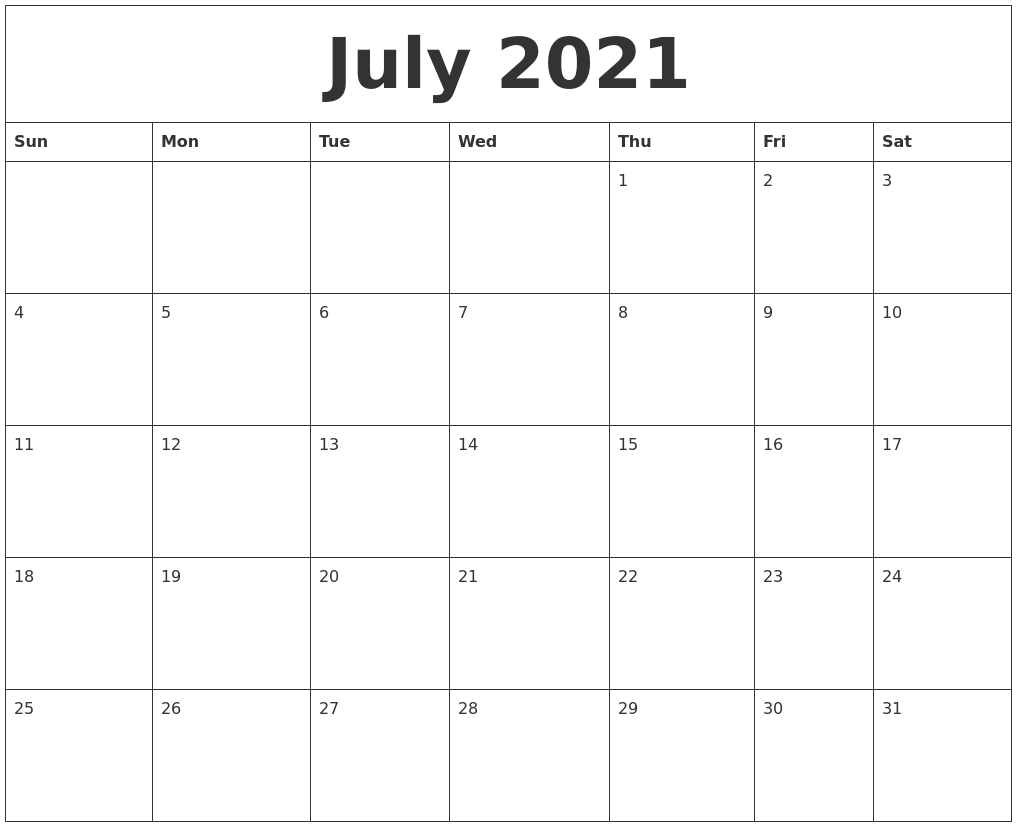 July 2021 Free Printable Calendar Templates