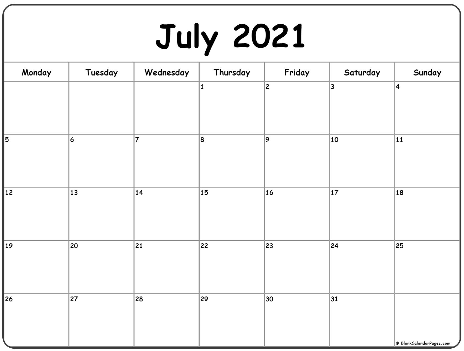 July 2021 Monday Calendar | Monday To Sunday