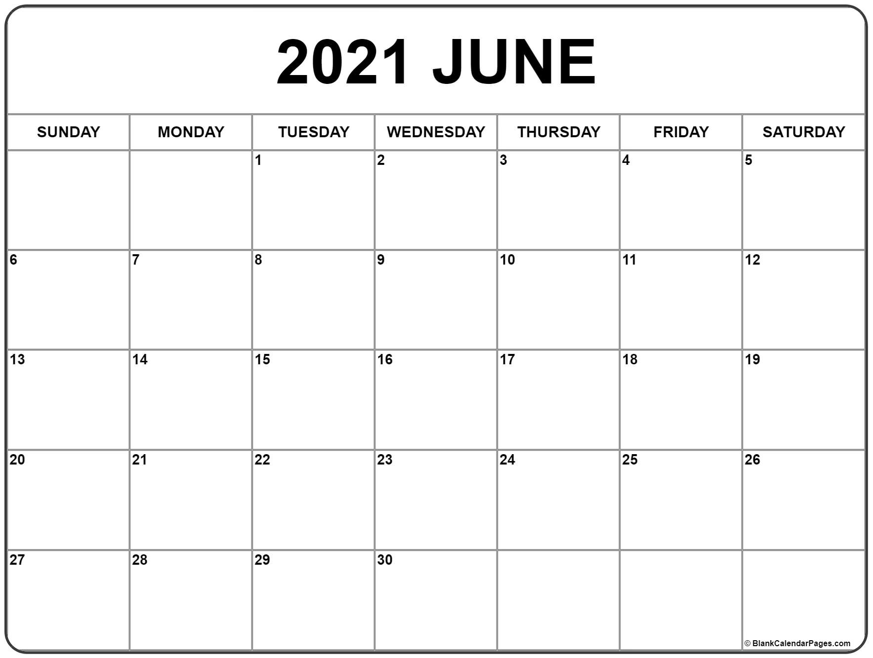 June 2021 Calendar | Free Printable Monthly Calendars