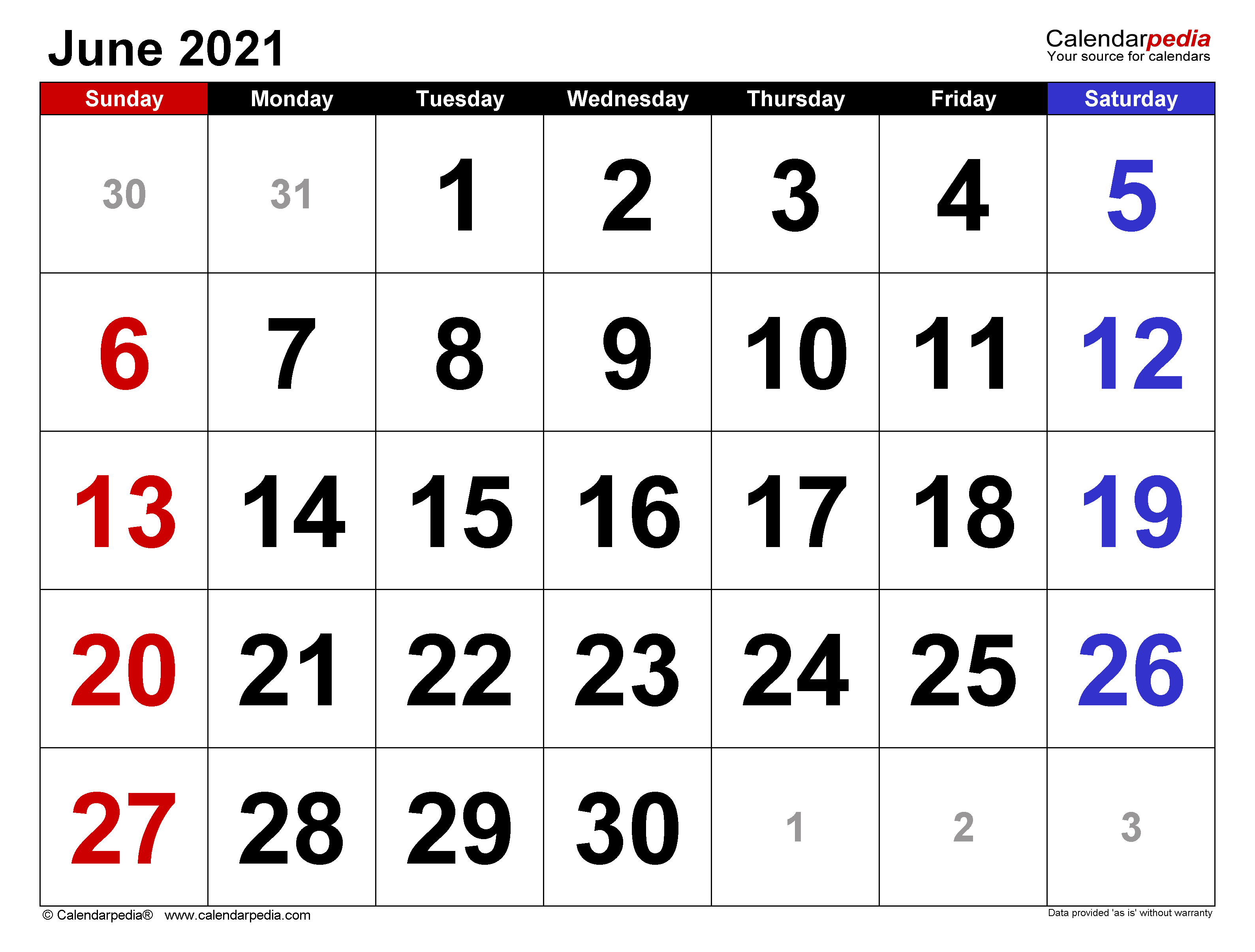 June 2021 Calendar | Templates For Word, Excel And Pdf