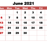 June 2021 Calendar With Holidays Printable – Free Printable