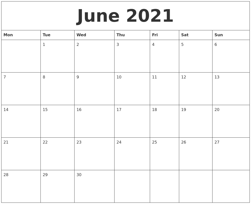 June 2021 Free Printable Calendar Templates