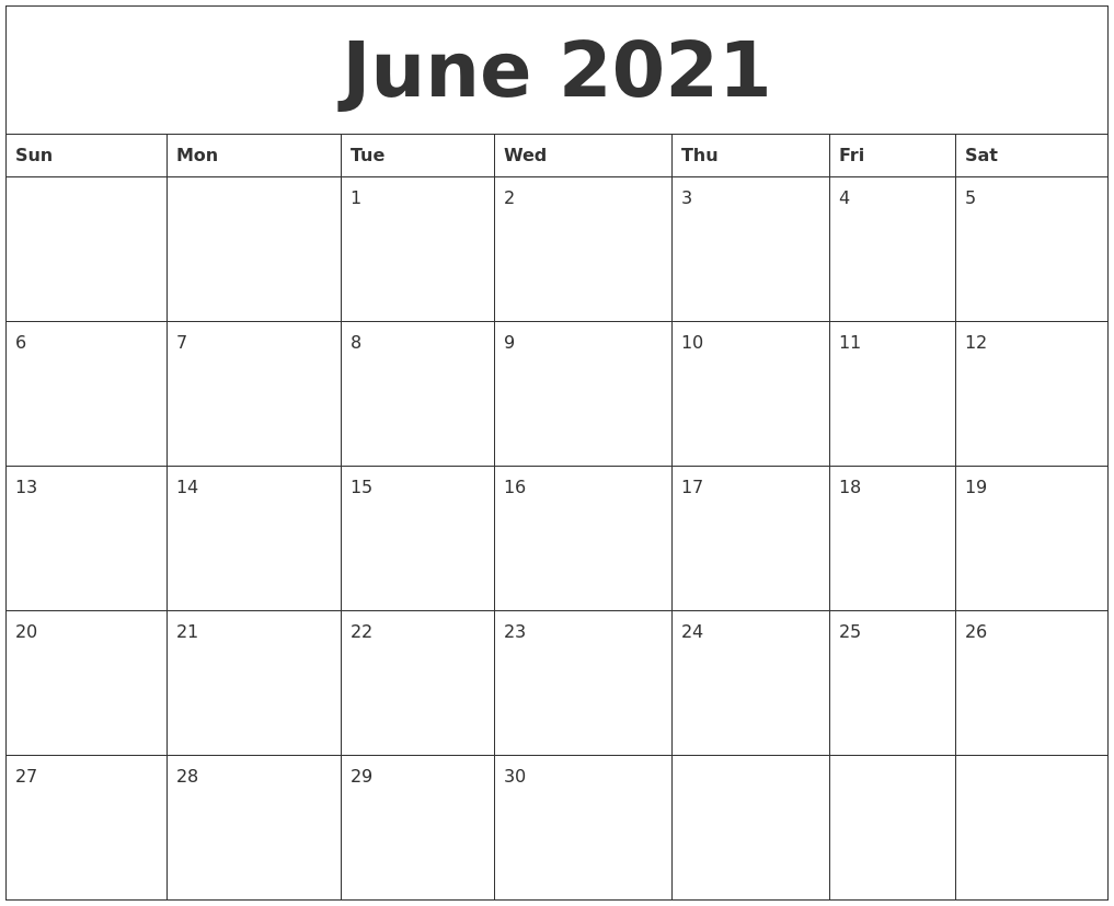 June 2021 Printable Daily Calendar