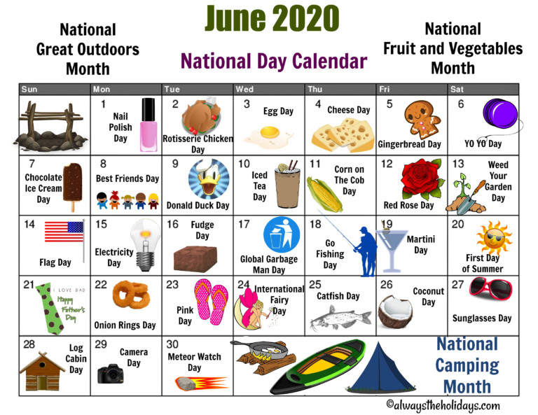 June National Day Calendar Printable - Father's Day, Camping
