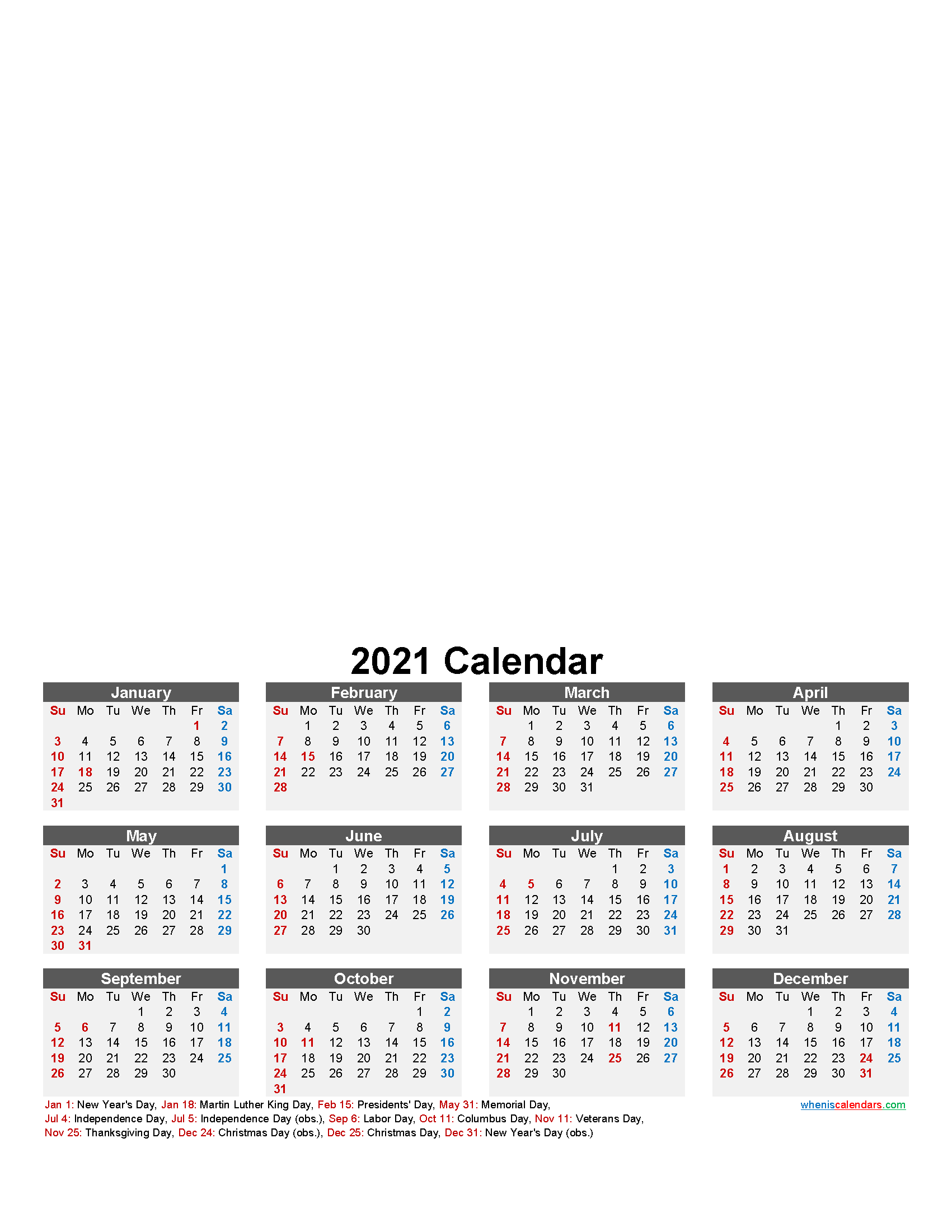 Make Your Own Photo Calendar 2021 – Template No.f21Y15