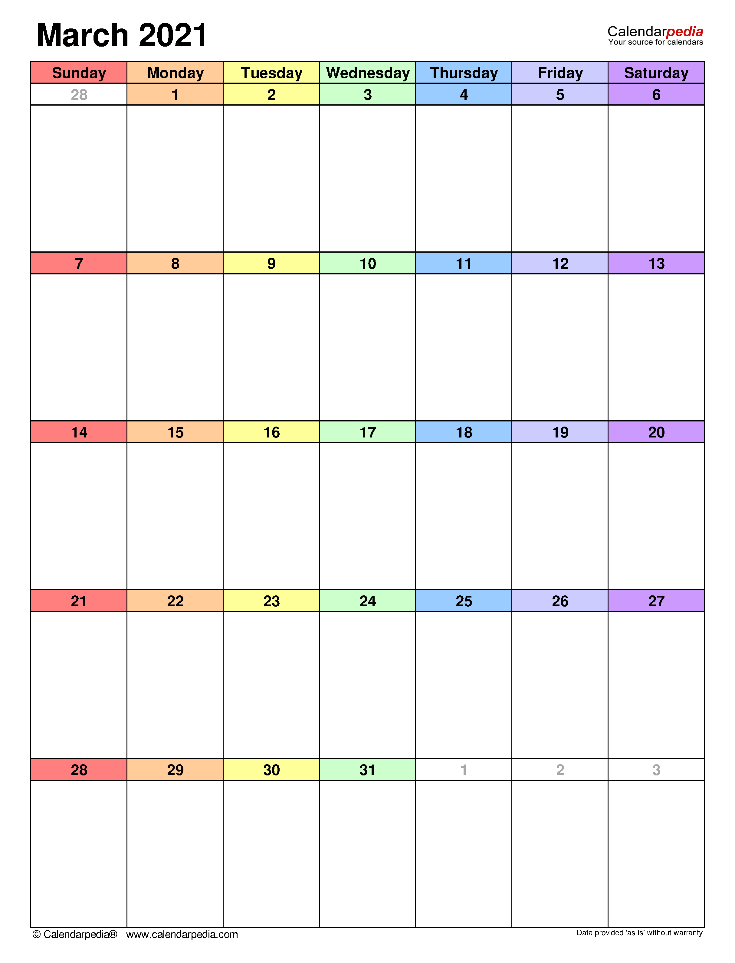 March 2021 Calendar | Templates For Word, Excel And Pdf