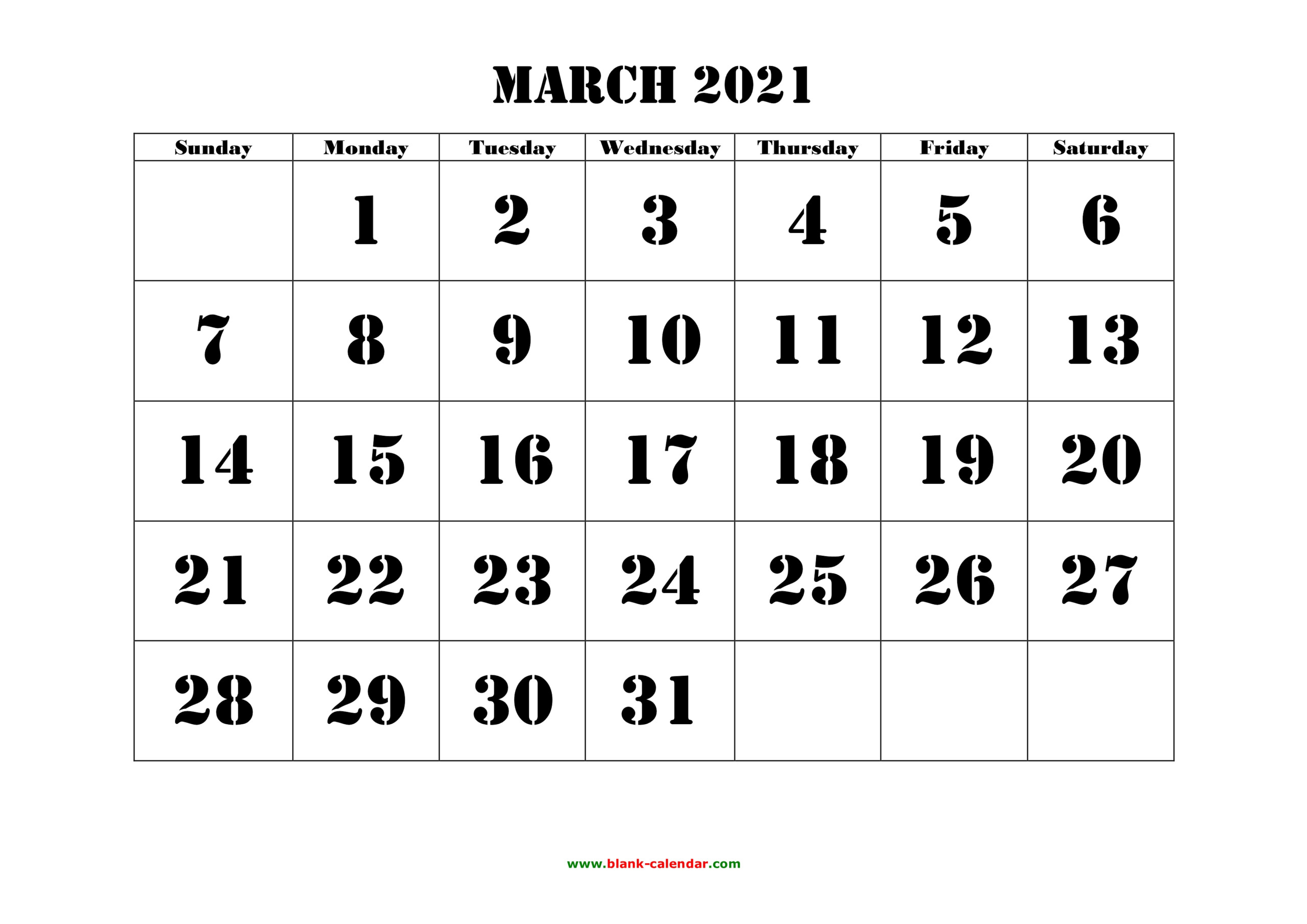 March 2021 Printable Calendar | Free Download Monthly