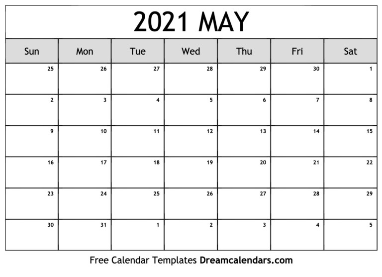 May 2021 Calendar | Free Blank Printable Templates