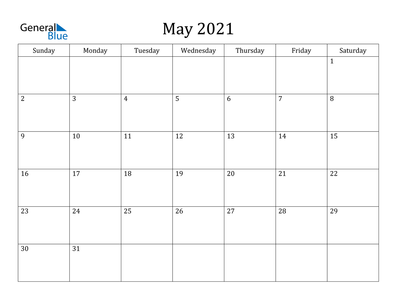 May 2021 Calendar - Pdf Word Excel