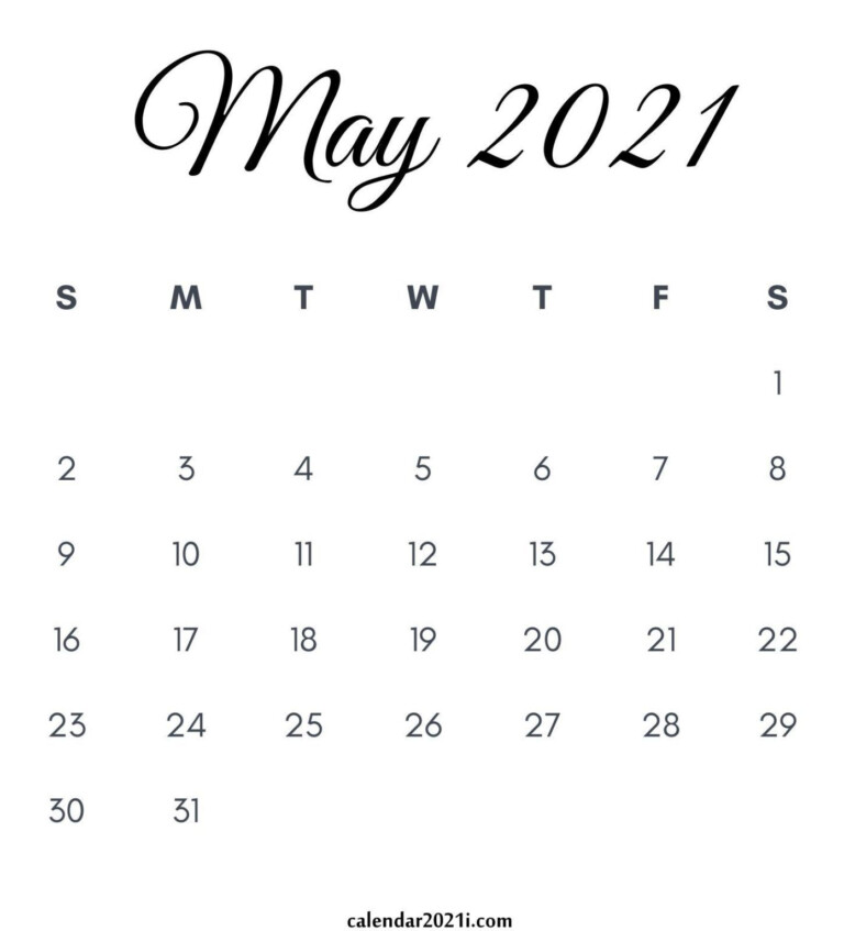 May 2021 Calendar Printable In 2020 | Calendar Printables