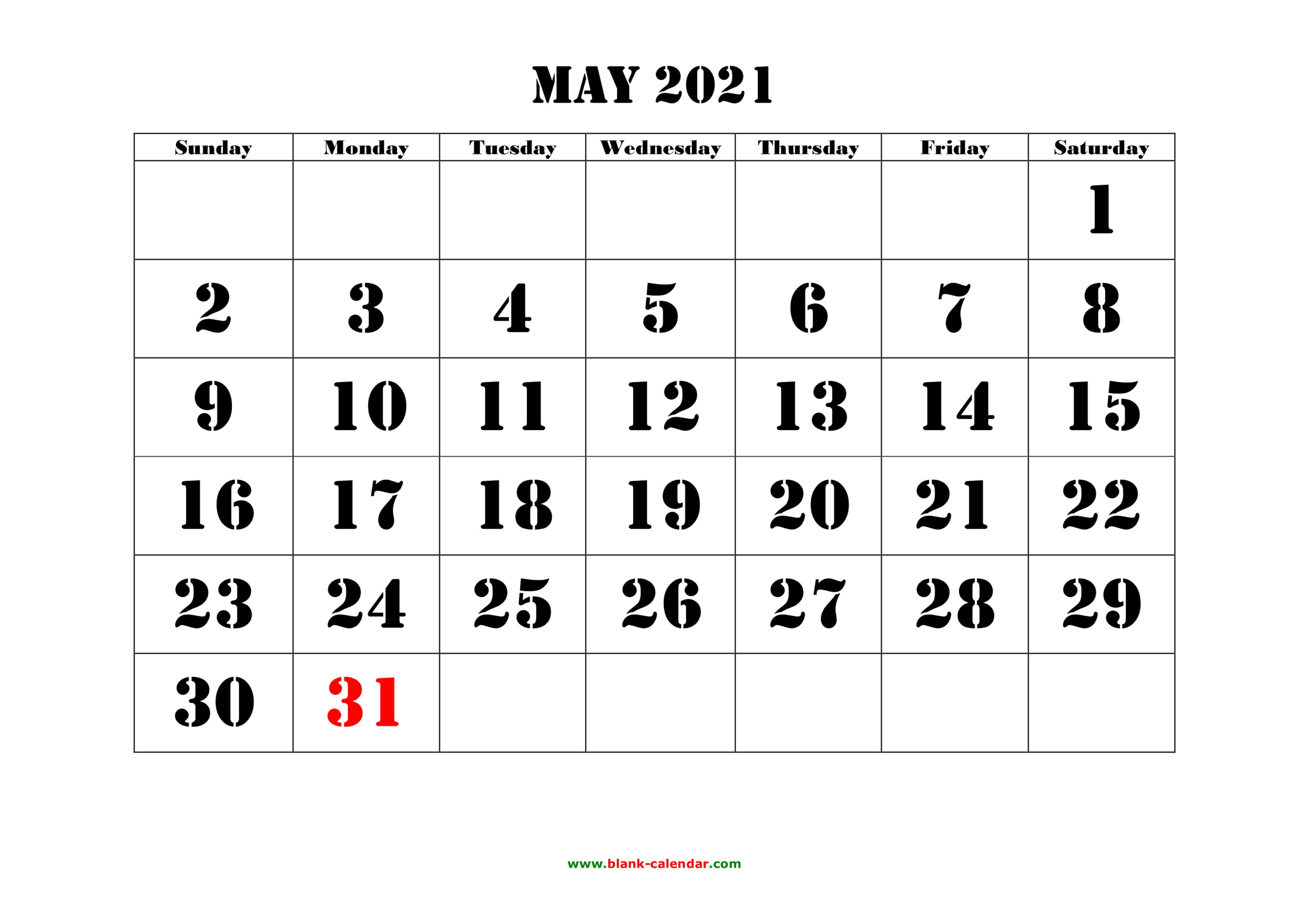 May 2021 Printable Calendar | Free Download Monthly Calendar