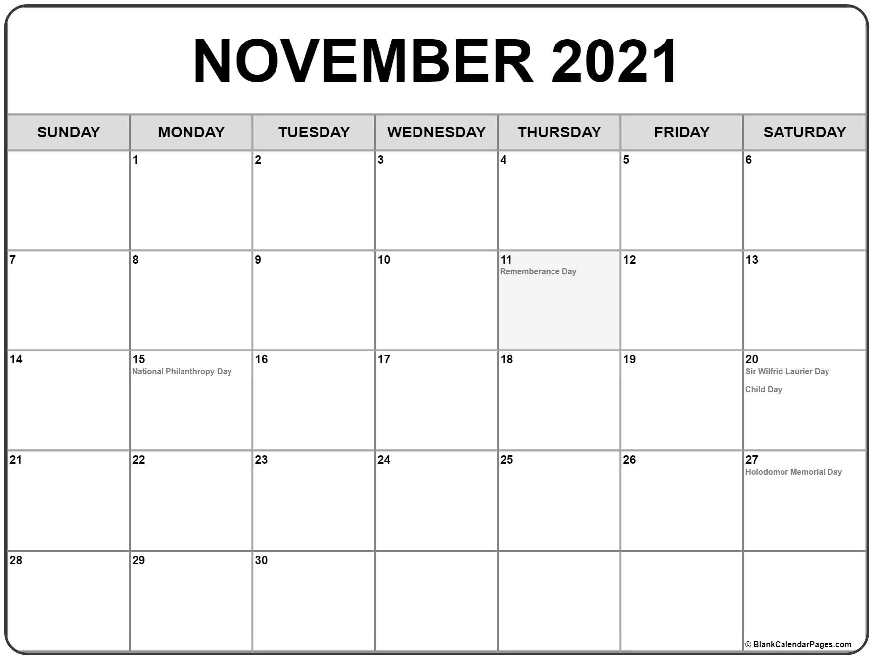 November 2021 Calendar With Holidays