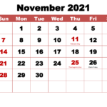 November 2021 Calendar With Holidays Printable – Free