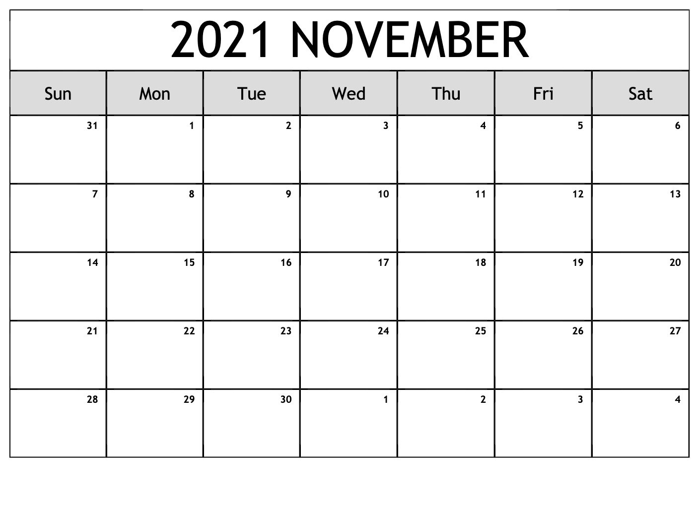 November 2021 Calendar With Thanksgiving Holiday Free Pdf