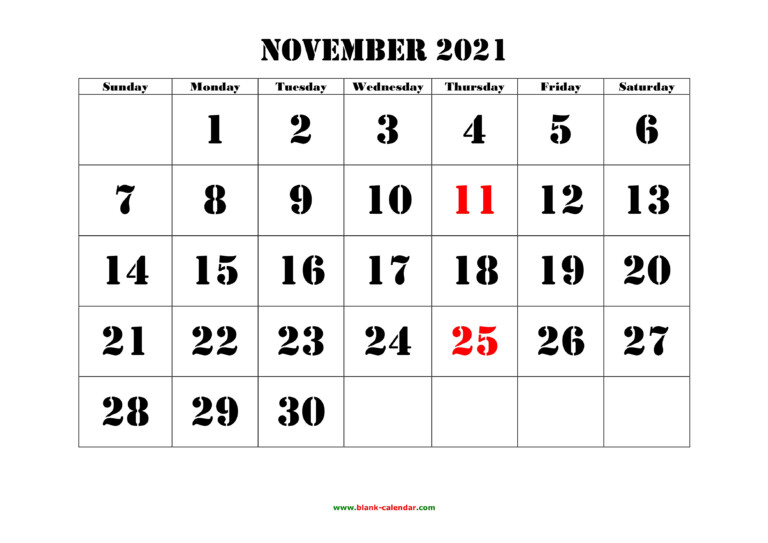 November 2021 Printable Calendar | Free Download Monthly