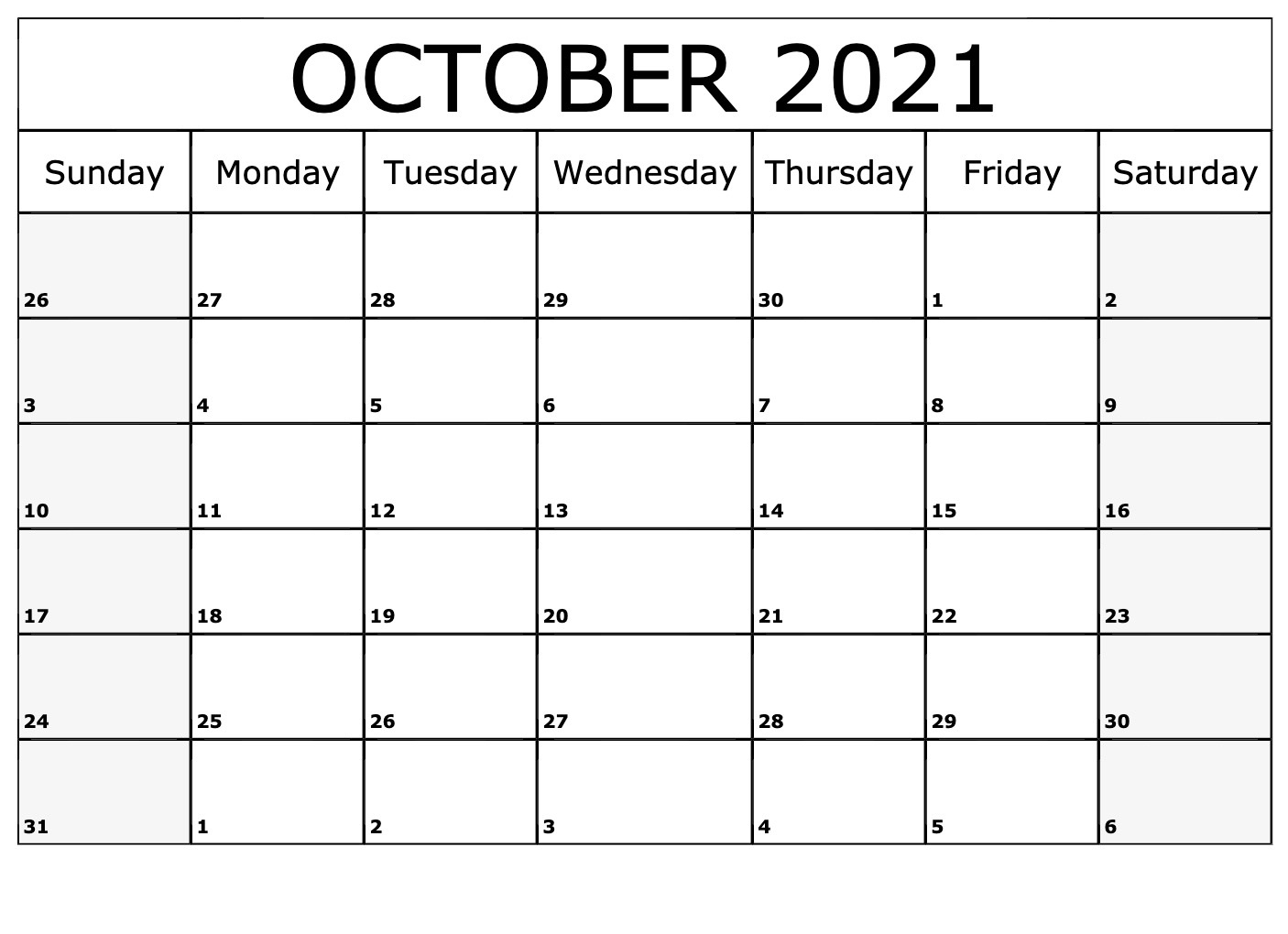 October 2021 Calendar Horizontally Free Layouts For