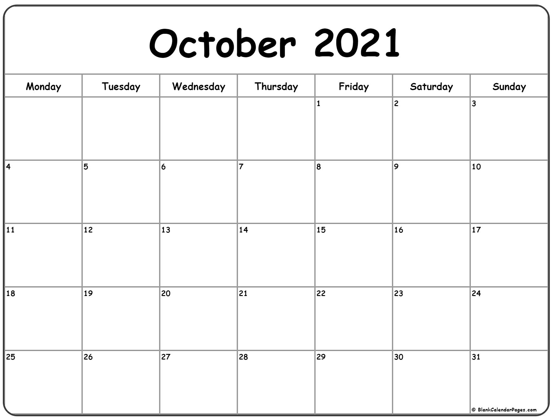 October 2021 Monday Calendar | Monday To Sunday