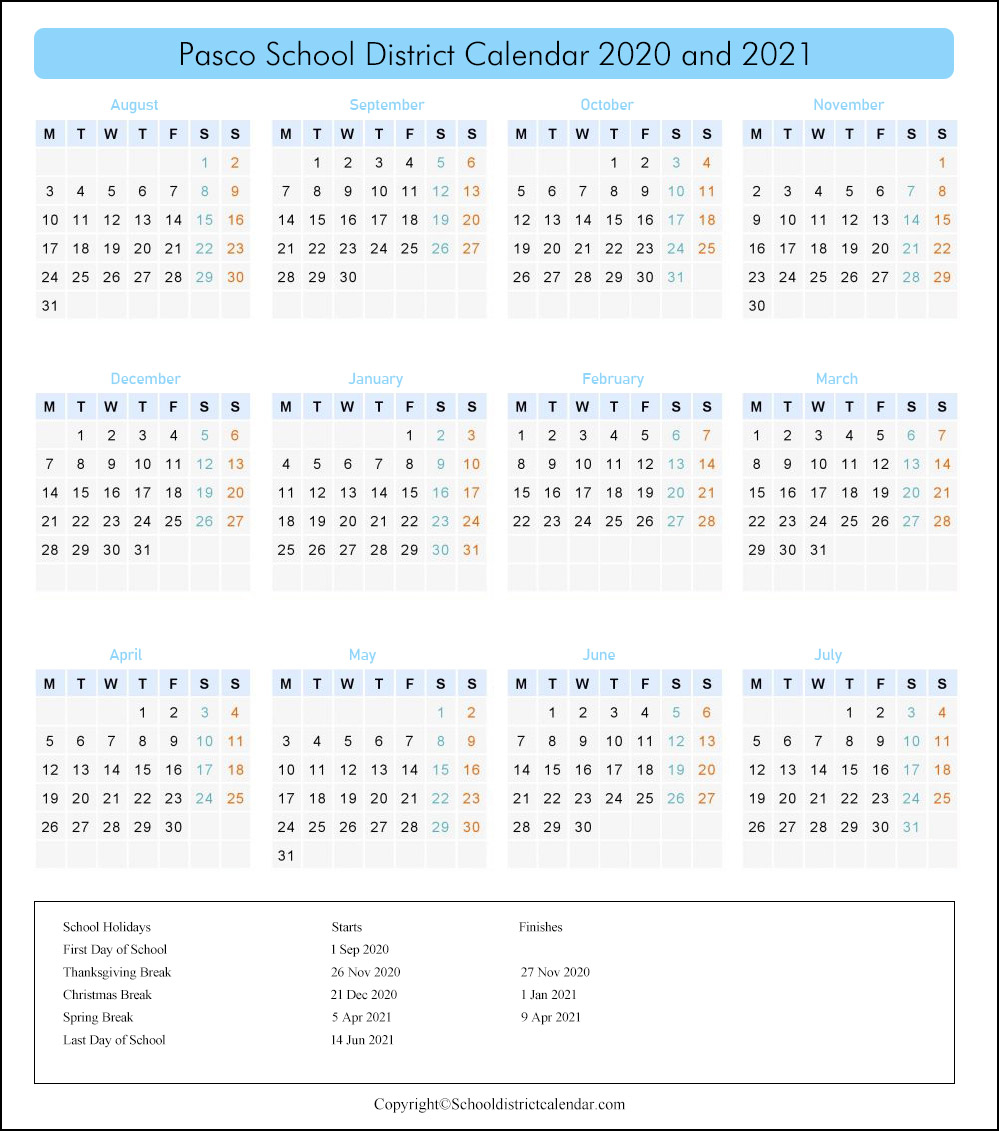 Pasco School District Calendar Holidays 2020-2021