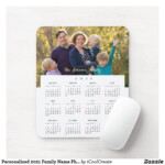 Personalized 2021 Family Name Photo Calendar Mouse Pad