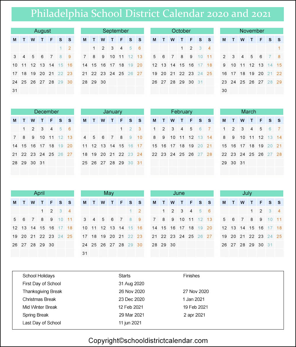 Philadelphia School District Calendar Holidays 2020-2021