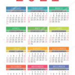 Pocket Calendar 2021 Year. Vector Wall Calender Template. Simple 336310936