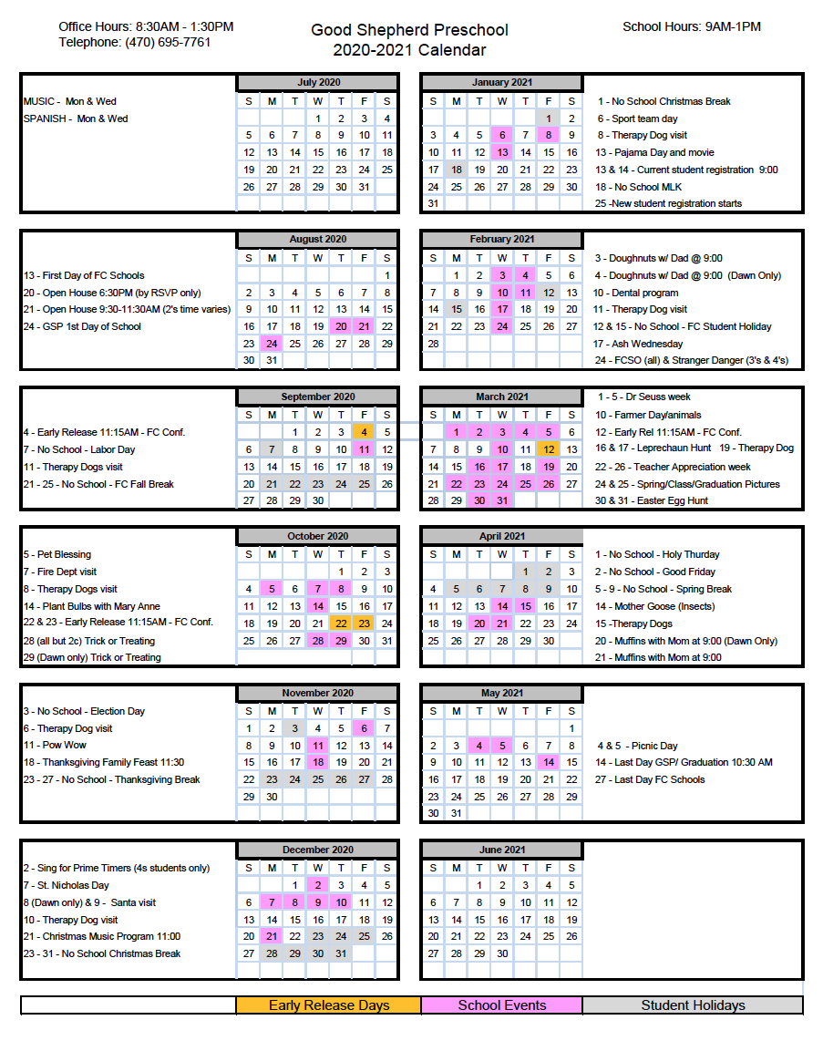 Preschool Calendar – Good Shepherd