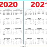 Printable 2 Year Calendar 2020 And 2021 - Hipi