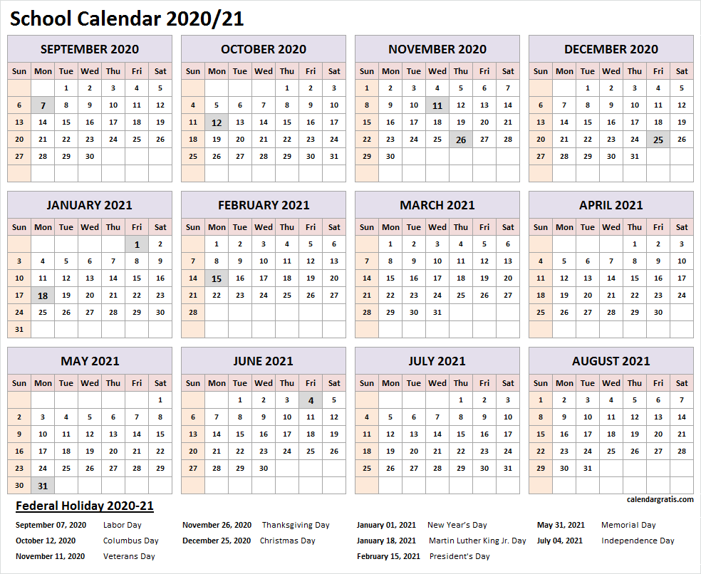 Printable 2020-2021 School Calendar Template (United States