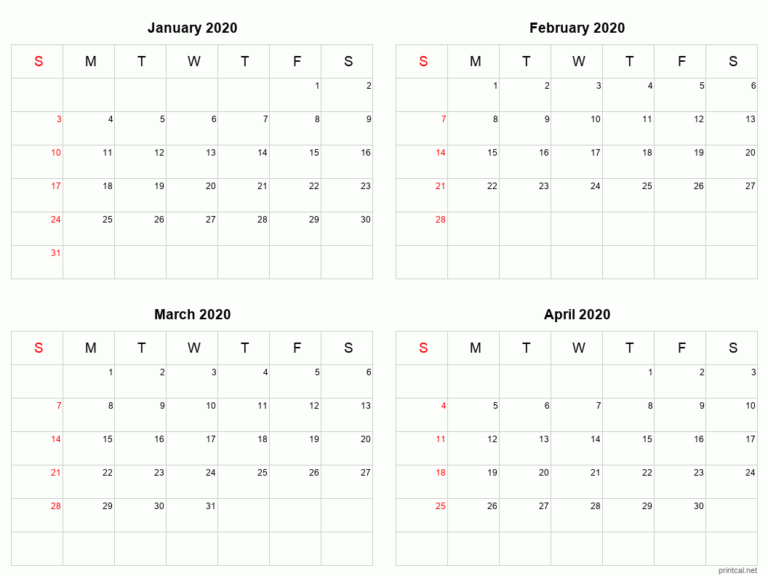Printable 2021 Calendar - Four Months Per Page | Free