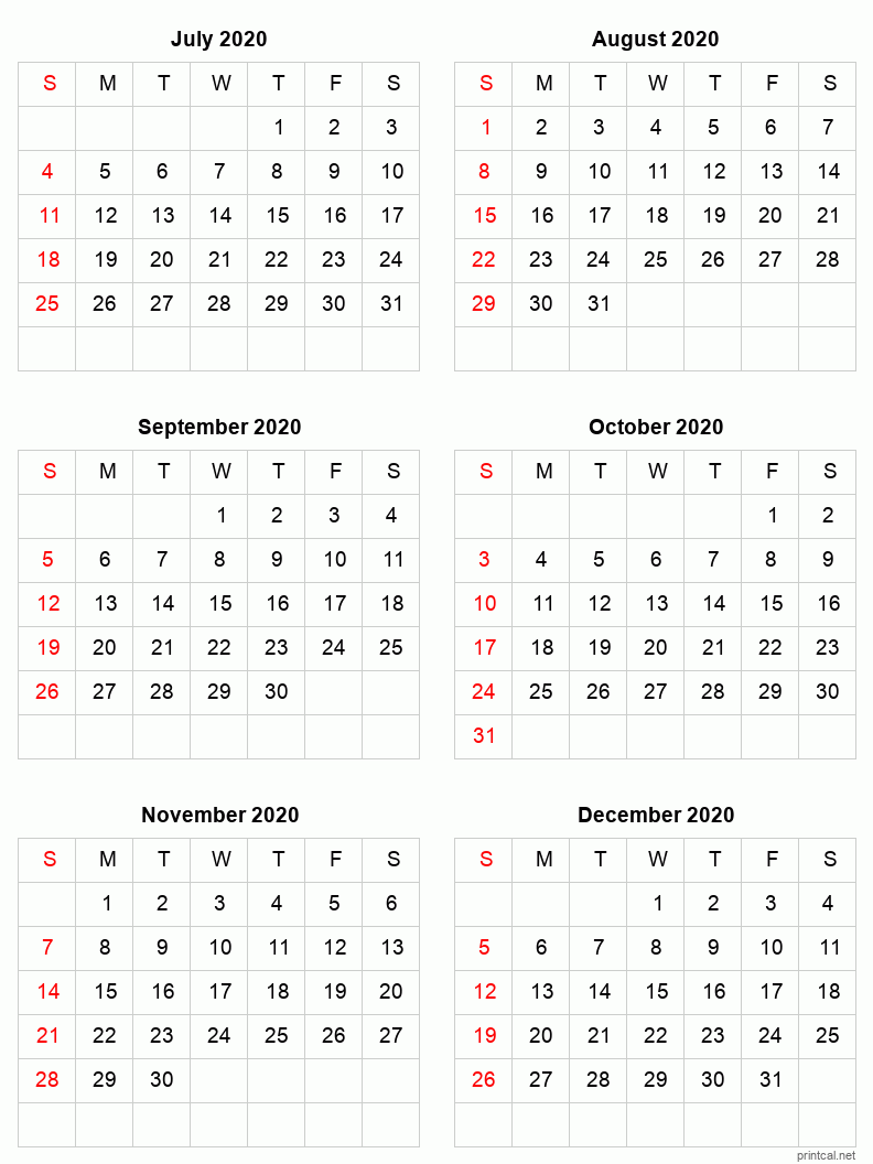 Printable 2021 Calendar - Six Months Per Page | Free