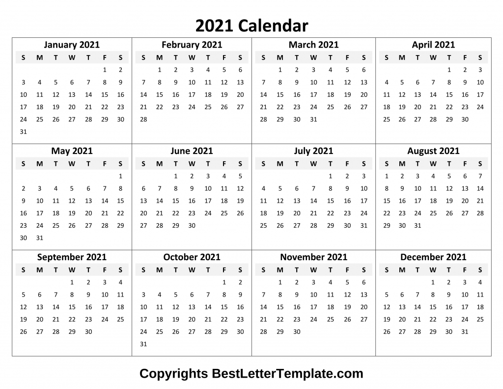 Printable 2021 Calendar Template In Pdf, Word & Excel