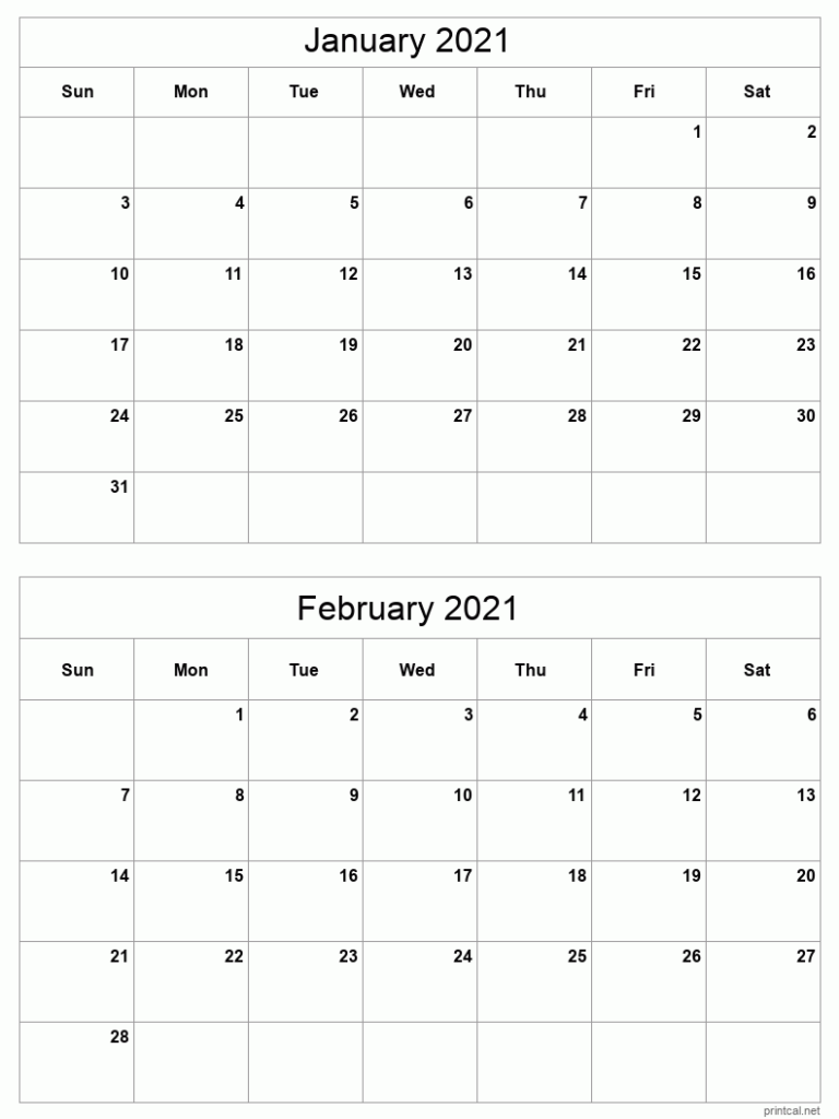 Printable 2021 Calendar - Two Months Per Page   Free