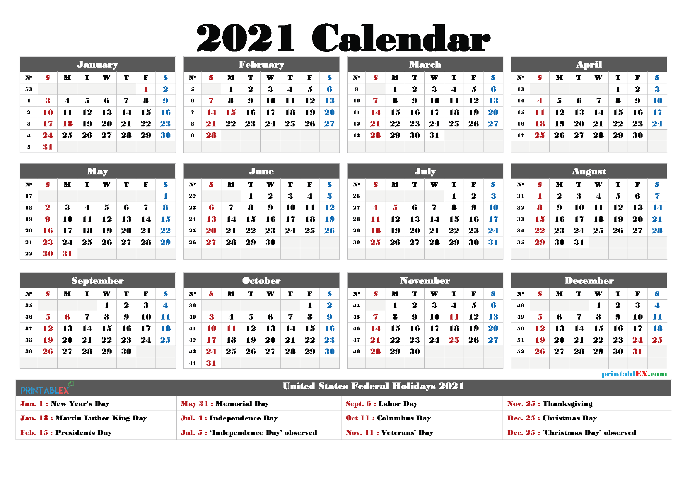 Printable 2021 Calendar With Holidays – Free Printable 2020