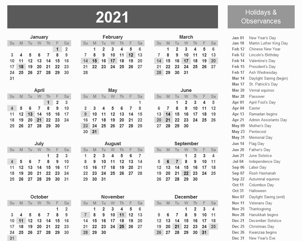 Printable 2021 Calendar With Holidays In 2020   Printable