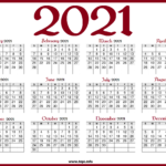 Printable 2021 Calendar With Us Holidays - Red Color - Hipi