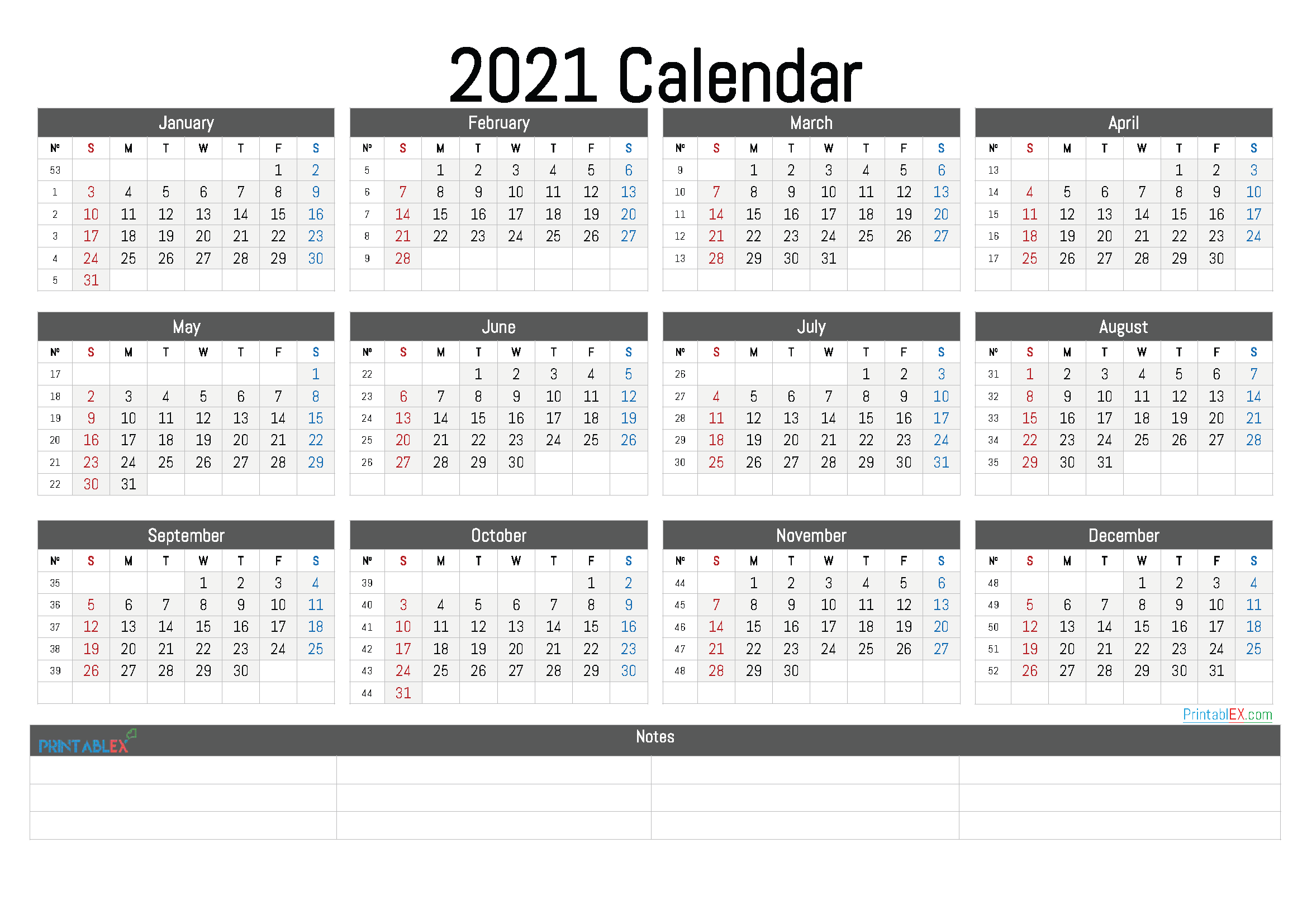 Printable 2021 Calendarmonth – 12 Templates – Free